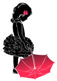 Silhouette little girl with pink umbrella. Silhouette little girl in dress with pink umbrella Royalty Free Stock Photography