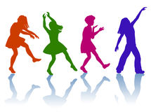 Silhouette of little girls. Girls dancing and playing together Stock Images