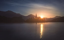 Silhouette of Little Island with Catholic Church in Bled Lake, S royalty free stock image