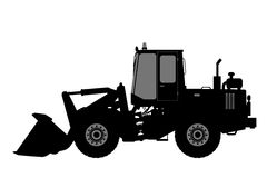Silhouette the loader on a white background. Stock Photo
