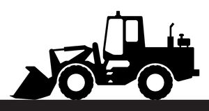 Silhouette the loader on a white background. Royalty Free Stock Photo