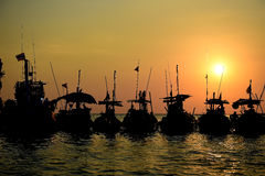 Silhouette local boat with sunset at pangnga provience, Thailand. Silhouette local boat with sunset at pangnga provience Royalty Free Stock Photo