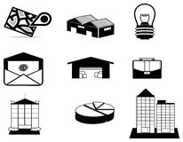 Silhouette logistic and estate icon collection set Stock Photography