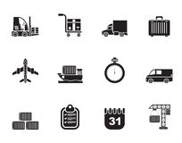 Silhouette logistics, shipping and transportation icons Stock Photos