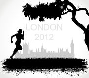 Silhouette of London. The athlete runs on games Royalty Free Stock Photos