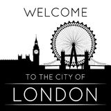 The silhouette of London. Against red background. EPS8 illustration Royalty Free Stock Images