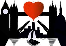Silhouette city of London with heart on Thames vector illustration