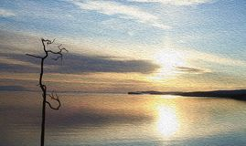 Silhouette of lonely dry tree in bay at dawn, texture of oil painting. Silhouette of lonely tree in bay at dawn. Old dried trunk in water at sunset. Colorful royalty free stock photos