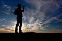 Silhouette of the lonely wanderer Stock Photography