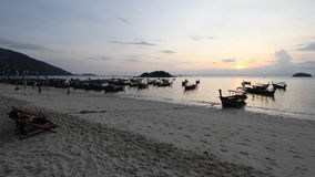 Silhouette of longtail Boat at Sunrise Beach, Koh Lipe island, T Royalty Free Stock Photo