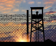 Silhouette of a lookout tower and borders Stock Photography