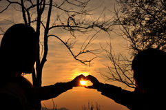 Silhouette love Stock Image