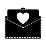 Silhouette love heart  envelope mail valentine letter. Vector illustration eps 10 Stock Photo