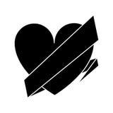 Silhouette love heart wrap ribbon celebration romantic Stock Image