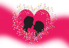Silhouette of lovers. First Love, First Kiss. Silhouette of lovers on pink Background. Vector illustration Stock Image