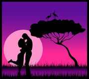 Silhouette of lovers Stock Photo