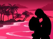 Silhouette of lovers. On a background african beach royalty free illustration