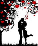 Silhouette of lovers. On a background with heart vector illustration