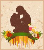 Silhouette of lovers Stock Image