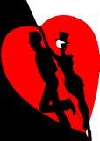 Silhouette lovers. Against red heart Stock Illustration