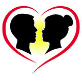 Silhouette of a lovers couple. Beautiful young couple of lovers on the heart as background royalty free illustration