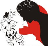 Silhouette of lovers in flowers Royalty Free Stock Images