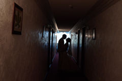 Silhouette of lovers Royalty Free Stock Photos