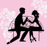 Silhouette of lovers sitting on the bench royalty free illustration