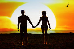 Silhouette of loving couple Royalty Free Stock Images