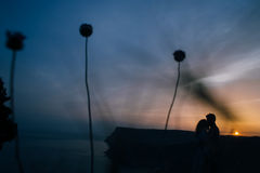 Silhouette of a loving couple kissing in the sunset. People silhouettes people kissing at sunset on a background of ocean Royalty Free Stock Photo