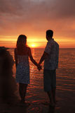 Silhouette of a loving couple Stock Image