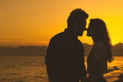 Silhouette of Loving Couple at Sunset Royalty Free Stock Photos