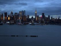 Silhouette of Lower Manhattan at night sky background Royalty Free Stock Photos