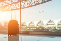 Silhouette of luggage or suitcase royalty free stock photos