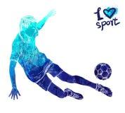 Silhouette lumineuse d'aquarelle de footballeur avec la boule Illustration de sport de vecteur Chiffre graphique de l'athlète Images libres de droits