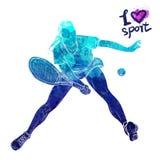 Silhouette lumineuse d'aquarelle de joueur de tennis Illustration de sport de vecteur Chiffre graphique de l'athlète Personnes ac Photos libres de droits