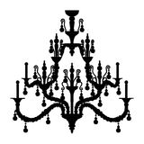 Silhouette of luxury chandelier Stock Images