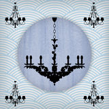 Silhouette of luxury chandelier Stock Image