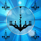 Silhouette of luxury chandeliers with rays Royalty Free Stock Photography