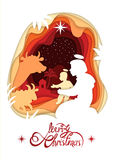Silhouette of Madonna Santa Maria and baby Jesus Christ. Lettering Merry Christmas. Royalty Free Stock Image