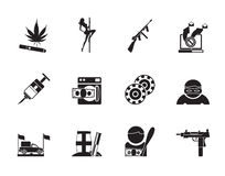 Silhouette mafia and organized criminality activity icons Stock Images