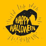 Silhouette of magic hat with lettering text Happy Halloween. Vector sticker Stock Photo