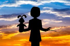 Silhouette of Magician. Illustration of silhouette of Magician Stock Photos