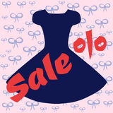 Silhouette of a magnificent black dress. Red text SALE and perce Royalty Free Stock Photo