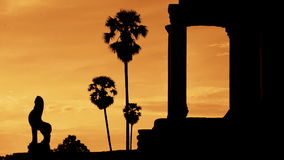 Silhouette of Main Temple Entrance at Sunrise - Angkor Wat, Cambodia stock footage