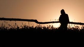 Silhouette of a male with backpack going at dusk on darklight in the field. Rustic scene. Rural lifestyle background. Man in a hoody moving forward and back on stock footage