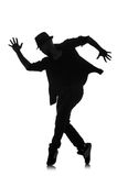 Silhouette of male dancer Stock Photos