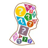 Silhouette of a male face with questions, Male head profile and question marks stock illustration