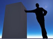 Silhouette of man. Leaning against a wall on a background a moon and nightly sky royalty free stock photography