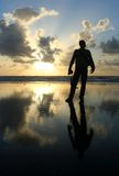 Silhouette of a man. Holding a camera royalty free stock images